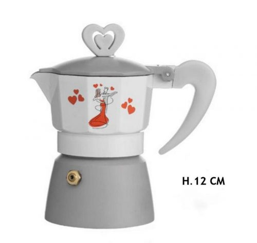 Caffettiera metallo con decoro sposi. H 12