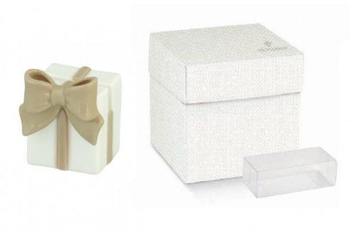 Cubo ceramica portafoto forma pacco regalo completo di scatola e pvc portaconfetti. CM 4x4 H 5.5