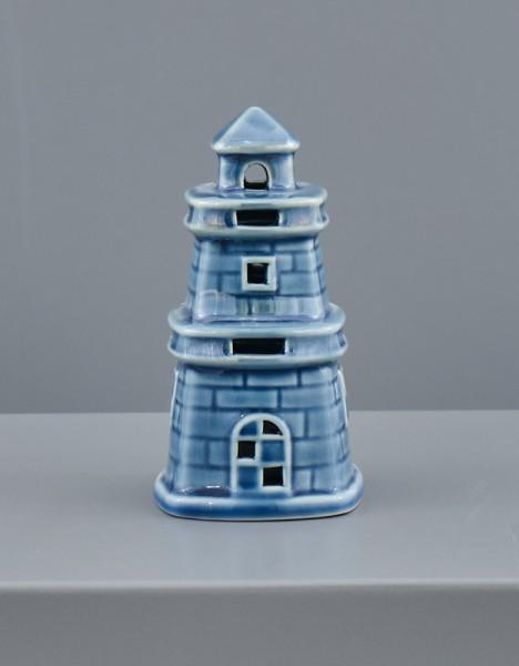 Faro ceramica blu con luce LED. CM 6x6 H 11