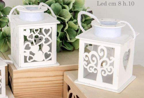 Lanterna in legno Albero della Vita e Cuore con Luce Led
