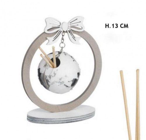 Profumatore legno con globo silver e bianco. H 13