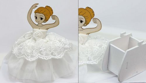 Porta confetti ballerina con tutù in tessuto