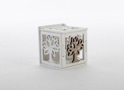 Porta confetti scatola in legno con decoro albero/cuori