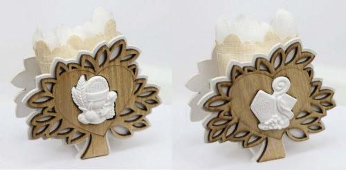 Scatola legno con sacchettino interno comunione o cresima. CM 9.5X3.5 H 10