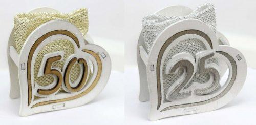 Scatola legno con sacchettino interno, oro o argento.