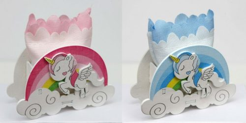 Scatola legno e sacchettino con unicorno e arcobaleno