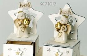 Angelo resina con stella e cassetto porta confetti legno.