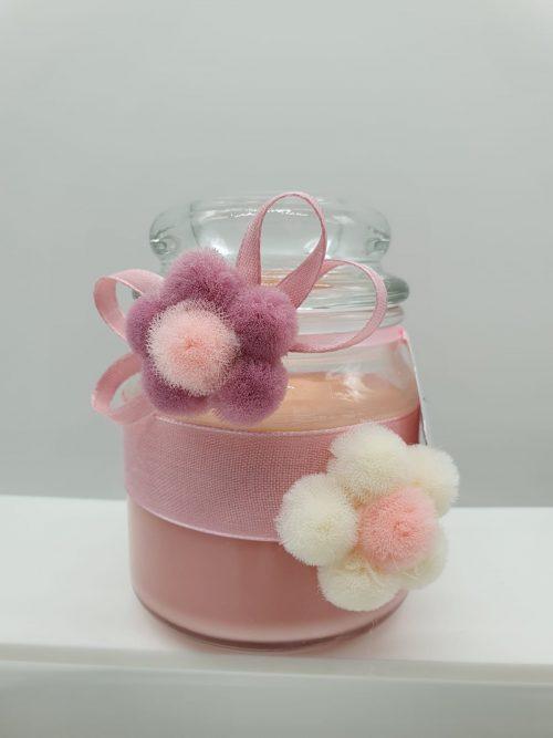 Barattolo con candela cera rosa con tappo vetro