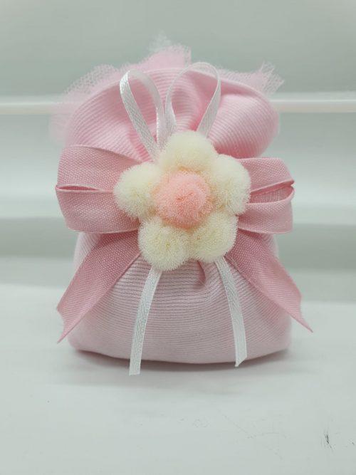 Sacchetto rosa con tulle  e fiore