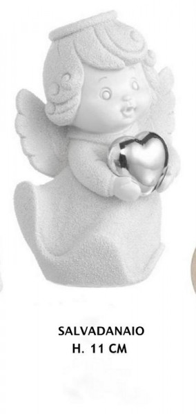 Angelo salvadanaio in resina con cuore silver