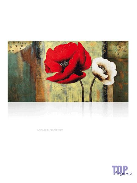 """Quadro su tela """"tulipani"""" Ottaviani Argenti  75×150 s.l."""