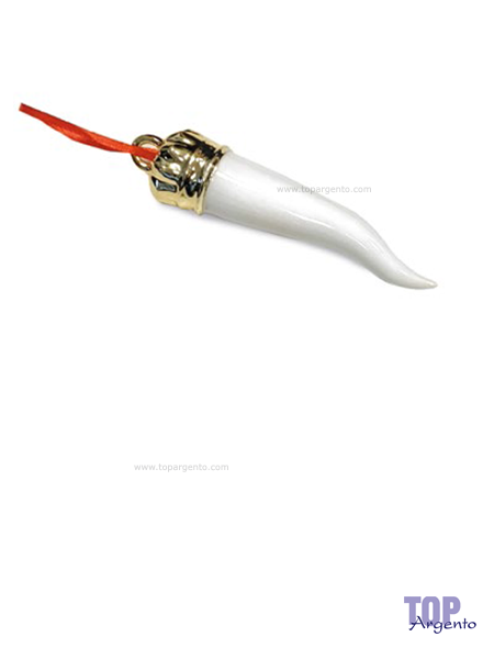 Paben Cornetti Portafortuna Porcellana Bianco Rosso