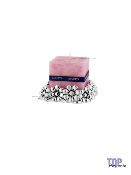 Bagutta Argenti Porta Candele Margherite Rosa Medio